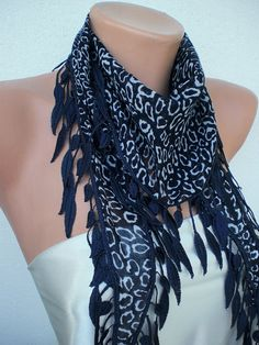 navy blue leopard scarf