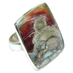 $68.85 New+Secret+AAA+Baculites+Stone+Sterling+Silver+Ring+s.+9 at www.SilverRushStyle.com #ring #handmade #jewelry #silver #baculitesstone