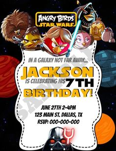 Awesome Angry Bird Star Wars Birthday Invitations Lego