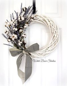 Southern Charm Wreath | Front Door Wreath | White Willow Wreath | Lavender and…