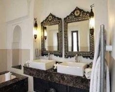 Bathroom:Inspiring Moroccan Black Marble Countertop Bathroom Ideas Cabinet Design Tile Furniture Decor Bathtub Shower Washbasin Vanities Decorating Luxury Eastern Luxury Inspiring Moroccan Master Bathroom Designs