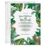 #white - Forest Greenery White Wood Wedding Invitation
