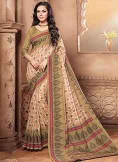 Designer Beautiful Traditional Cream Colored 22637 Casual Wear Pure Silk Sari Printed Daily Wear Saree With Border Work