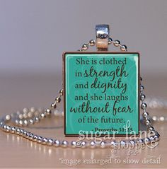 Bible Verse Scripture Necklace - (SB2 - Black, White - She is Clothed in Strength - Proverbs 31:25) - Scrabble Tile Pendant with Chain. $6.95, via Etsy.