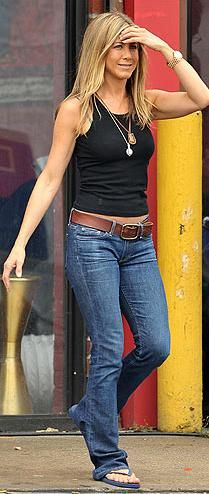 Who made Jennifer Aniston's blue boot cut jeans and blue flip flops?
