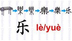 乐, originally a pictographic character of a wooden musical instrument, serves as a phonetic component to form characters. Wooden Musical Instruments, Learn Mandarin, Chinese Words, Chinese Language, Learn Chinese, Chinese Characters, Pictogram, China, Musicals