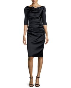 "Talbot Runhof ""Gosling"" ruched satin dress. Bateau neckline with rosette pleat detail. Three-quarter sleeves. Ruched across bodice. Fitted silhouette. Straight hem; back notch. Hidden back zip. Acetat"