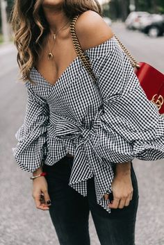 $50 Black And White Gingham Checked Off The Shoulder Puff Sleeve Ruffled Tie Waist Detail Blouse With Plain Black Skinny Jeans And Half Moon Crescent Gold Necklace Street Style Tumblr