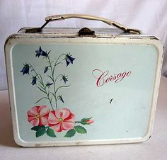 Vintage 1960's Corsage Metal Lunch Box with Many Wild Flowers For your Supplies or Storage