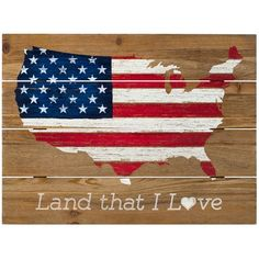 Rustic patriotic sign with American flag motif on the map of the United States of America. Land that I love; silkscreened onto pallet wood; home decor favorite. x Land That I Love, Rustic Wood Wall Sign America Sign, I Love America, Diy Crafts For Home Decor, Cheap Home Decor, Barn Wood Signs, Wooden Signs, Home Decor Catalogs, Japanese Home Decor, Medallion Wall Decor