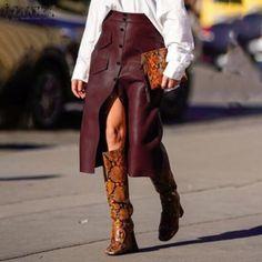 New burgundy faux leather button down high waist A line midi length women skirt Midi Length Skirts, Midi Skirts, Button Skirt, Cheap Skirts, Plus Size Women, Pu Leather, High Waisted Skirt, Clothes For Women, Female