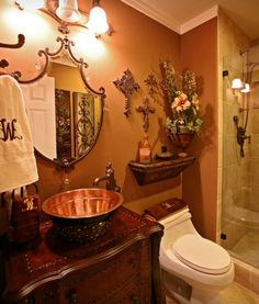 I hated the mustard color on my walls using behr faux for Bathroom design 8x8