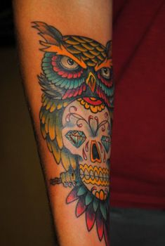 Watercolor sugar skull owl tattoo | Owl & Sugar Skull Tattoo by The Red Parlour Tattoo Woodside Queens NY ...