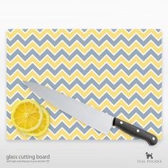Chevron Glass Cutting Board YOU CHOOSE COLOR Perfect by TealPoodle