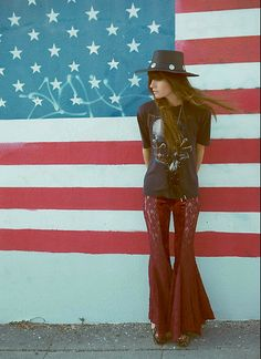 Velvet Lace Flare, Vintage Harley Tshirt, Jeffrey Campbell Tapestry Foxy Clogs - Land that I love. - Wild  At Heart
