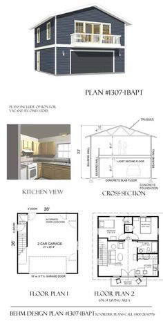Apartment_Garage_Plan, 2 car with balcony No.1307-1bapt by Behm Design
