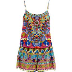 Camilla Spirit of Ruh embellished printed washed-silk playsuit ($470) ❤ liked on Polyvore featuring jumpsuits, rompers, playsuit, jumpsuit, dresses, shorts, blue, sparkly jumpsuit, silk romper and silk rompers