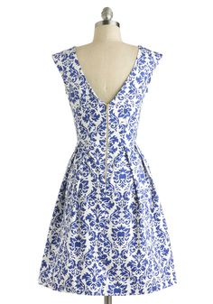 Be Outside Dress in Delft. Who would want to be cooped up when clothed in the fun cobalt pattern of this pretty dress?  #modcloth