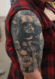 star wars, darth vader, stormtrooper, sleeve tattoos, arm tattoos, inked men, inked girls, tattoo inspiration, tattoo ideas.