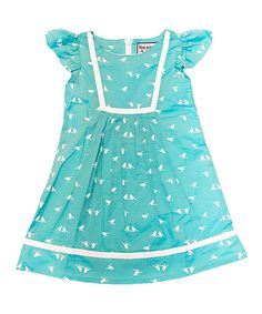 Look at this Teal & White Bird Bib Dress - Toddler & Girls on #zulily today!