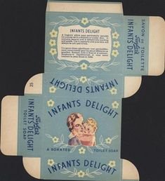 Old-shop-packaging-Taylors-Infants-Delight-soap for sale Vintage Packaging, Print Packaging, Baby Toiletries, Doll House Crafts, Soap Labels, Images Vintage, How To Make Box, Vintage Nursery, Dollhouse Accessories