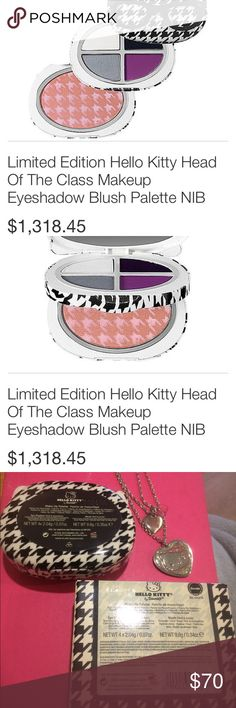 RARE! Hello Kitty Head of the Class & Necklace!❤️ Only lightly used. The white holographic shade is a little busted but not anything bad. Awesome collectors piece! Comes with a necklace any fanatic is sure to love! The white shade looks a lot like KVD alchemist! Hate to see it go, but she needs to go to someone who will use her more then me! Buy as a gift this holiday season! Or maybe as a treat for yourself! Everything is authentic, sanitized and looking for a new home! Bundles and offers…