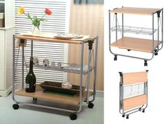 PORTABLE FOLDING WOODEN KITCHEN SERVING TROLLEY DINING TABLE RACK STORAGE  WHEELS