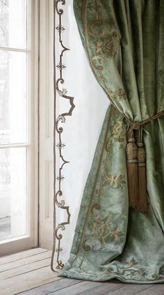 applique and embroidered sheer and silk drapery panels