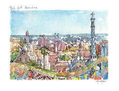 Park Güell PRINT / Antoni Gaudí. Gràcia por drawingBarcelona