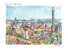 Watercolor Barcelona print of Park Güell SIGNED BY HAND by the Catalan illustrator Daniel Pagans.  SIZE DIN-A4 / 21x29,7 cm / 8.5x11 in.  PRINT High quality print on FEDRIGONI watercolor paper (200g/m).  PRESENTATION Transparent protective envelope with a drawing Barcelona label. Rigid support backing 300g/m.