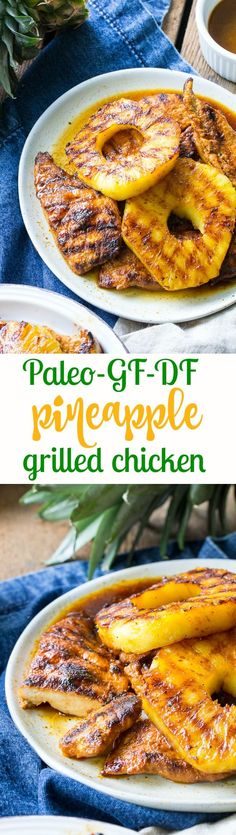 This Paleo pineapple chicken has a sweet pineapple glaze with a Whole30 friendly option too! It's easy, healthy, kid approved and perfect for summer grilling. It can also be made stovetop in a grill-pan. Refined sugar, free gluten-free and dairy-free.