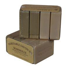 Véritables #savons de #Marseille Le Sérail 4X100G : 2 savons verts à l'huile d'olive pour le corps et 2 savons blancs à l'huile de palme pour le linge. Sans additif.