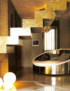 Golden Staircase. Xk #kellywearstler #gold #interior #home #design