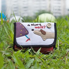 Short Walk Embroidered Applique Fabric Art Trifold Wallet Purse / Card Holder in 4.7*3.1
