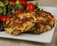 Sweet Potato Patties. Ingredients: 2 green onion, finely chopped 1/2 medium sweet potato, peeled and cut into tiny little cubes 2 1/2 cups kale, finely chopped (leaves only) 1 pound skinless boneless chicken breasts, cu…