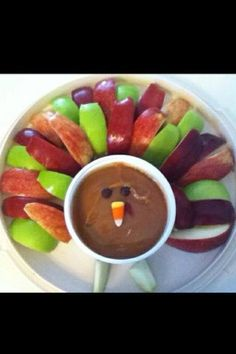 Colorful Turkey Appetizer idea with a variety of apples and carmel dip. (photo only)