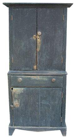 C1840 Stepback cupboard in original ink blue paint.