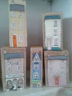 Sally's shed - pastel wooden house blocks