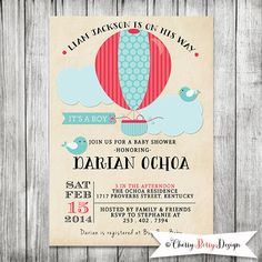 Up Up And Away Hot Air Ballon Shower Invite - Baby Shower boy Printable Invitation - 5 x7 JPG