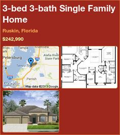 3-bed 3-bath Single Family Home in Ruskin, Florida ►$242,990 #PropertyForSale #RealEstate #Florida