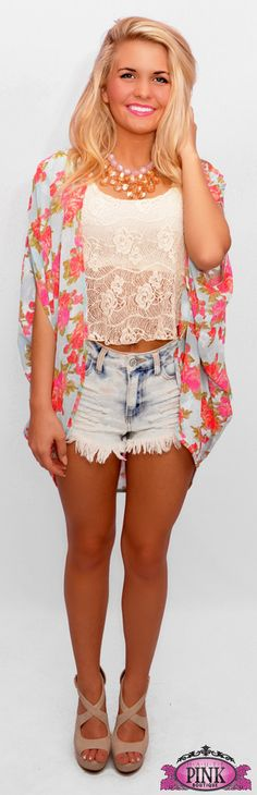 Mint Flower Play Chiffon Cardigan $34.99