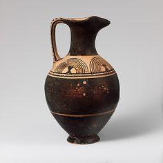 Terracotta oinochoe (jug)  Period: Geometric Date: ca. 900 B.C. Culture: Greek, Attic