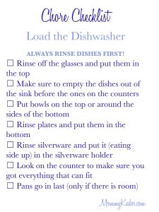 Free Printable Mommy Kudos Chore Checklist- loading the dishwasher I like most of this list would take off the rinsing first. Saves money not rinsing your dishes first.