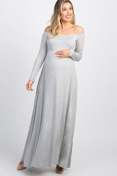 Heather Grey Solid Off Shoulder Maxi Dress