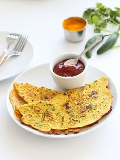 Classic Savory Indian Chickpea Flour Pancakes - a naturally vegan, dairy-free, gluten-free, healthy recipe featured from Vegan Richa's Indian Kitchen. Recipe on GoDairyFree.org