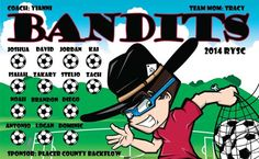 Bandits-40332 digitally printed vinyl soccer sports team banner. Made in the USA and shipped fast by BannersUSA. www.bannersusa.com