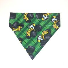 Pet Accessory - Green & Yellow Tractor - Over the Collar - Custom - Bandana, Bow Tie, Neck Tie, Flower by HemptressDesigns on Etsy