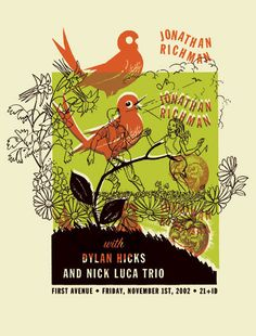 GigPosters.com - Jonathan Richman - Dylan Hicks - Nick Luca Trio Poster by Aesthetic Apparatus ::: www.dutchuncle.co.uk/aesthetic-apparatus