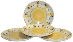 Caleca Zafferano 4 piece dinner plate set, service for 4 by Caleca. $47.45. Includes four art; 409 dinner plates. Dishwasher safe; microwavable. All natural majolica/ceramic components individually hand-painted with non-toxic glazes and colors. Chip-resistant. Solarity of the Caleca pattern Zafferano reflects a scattering of delicate small powder-blue flowers, the strong presence of the typical Caleca yellow distributes itself in the delicate decoration and in i...
