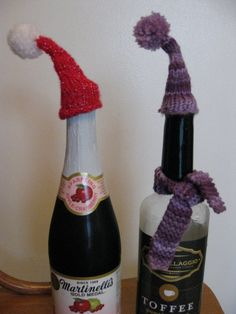 Knitted hats for bottles! :-) My first project using double pointed needles - not too bad!
